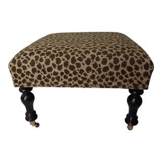 Baker Leopard Faux-Needlepoint Ottoman Ebony Finish Hollywood Regency Style Excellent