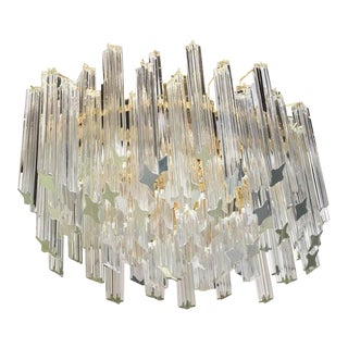 Vintage Oval Tiered Camer Glass Chandelier