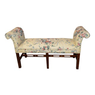 Vintage Chippendale Style Bench With Rolled Arms
