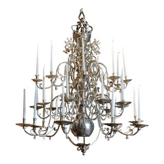 Palatial 18th Century Twenty-Four-Light Flemish Georgian Nickel Chandelier