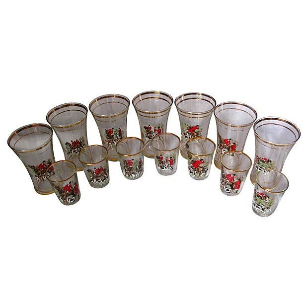Image of Hunting Scene High Ball & Liquor Glasses 14 Pieces