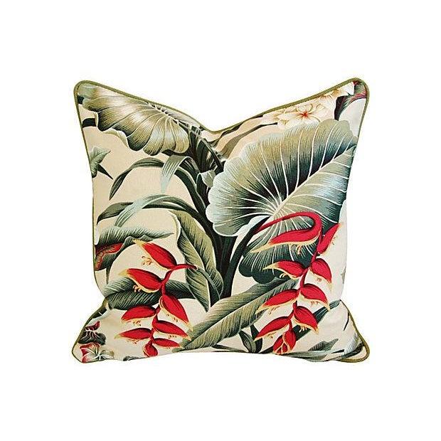 Lush Tropical Floral Barkcloth Pillows - Pair - Image 2 of 7