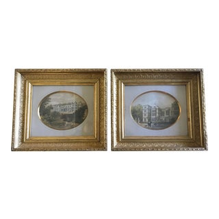 Framed Antique Prints of English Scenery - A Pair
