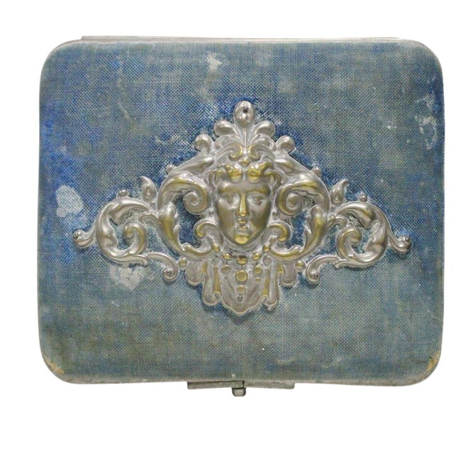Blue Necklace Box with Cherub - Image 1 of 5