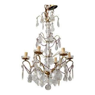 Italian Six Arm Tiered Crystal Chandelier With Amethyst Beads