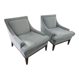 Mitchell Gold + Bob Williams Gray Herringbone Arm Chairs - A Pair