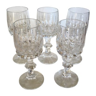 Antique Clear Cut Crystal Wine Goblets - Set of 5