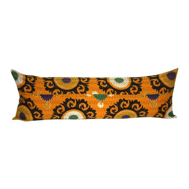 Image of Orange Suzani Kantha Pillow