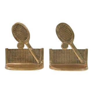 Vintage Brass Tennis Bookends - A Pair