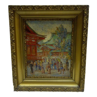 "Original ""Japanese Crowd by Temple"" Painting by Ferenc Imrey, 1930"