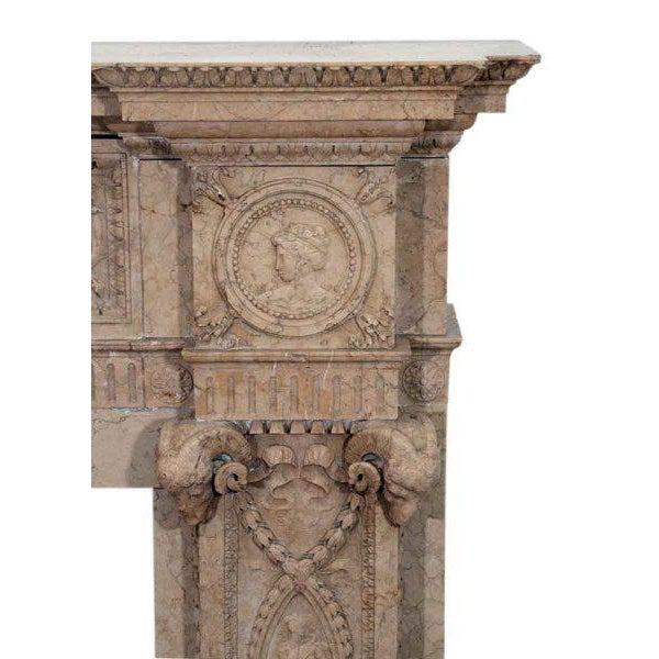 Edwardian Carved Sienna Marble Mantel - Image 2 of 3