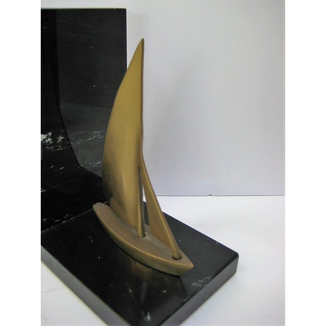 Mid-Century Brass Sailboat Bookends - Pair - Image 5 of 9