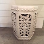 Image of Garden Stool With Cut Out Detail in Distressed