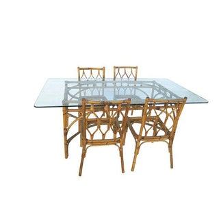 Mid-Century Modern Bamboo Dining Set