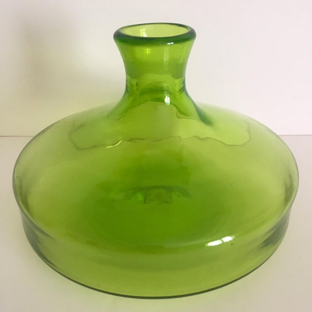 Vintage Blenko Mid-Century Chartreuse Handmade Glass Vase - Image 3 of 11