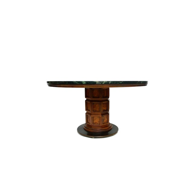 Image of Widdicomb Mid-Century Green Marble Center Table