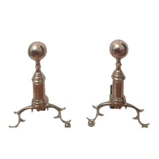 Nickel Plated Andirons - A Pair