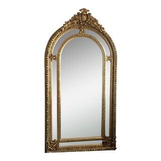 Large Gilded Scrolling Details Beveled Mirror