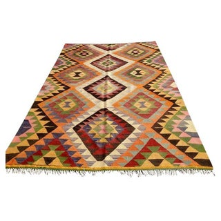 "VINTAGE Turkish Handwoven Kilim Rug 65"" x 105"""