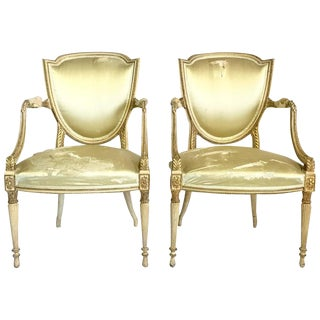 18th C. French Louis XVI Gilt Armchairs - A Pair
