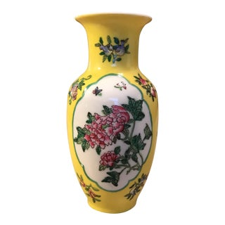 Hong Kong Canton Ware Hand Painted Yellow Vase