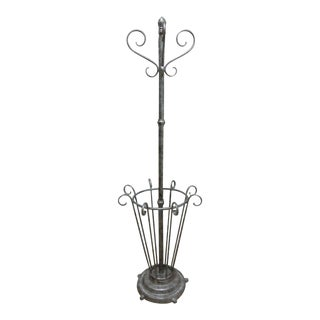 Antique French Regency Scrolled Cast Iron Metal Umbrella Stand Clothes Tree Rack