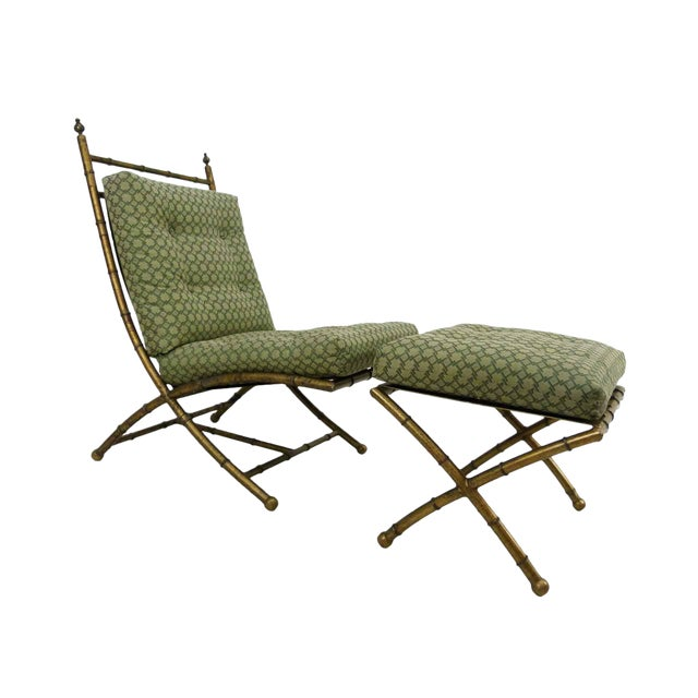 Italian-Style Faux Bamboo Lounge Chair & Ottoman - Image 1 of 9