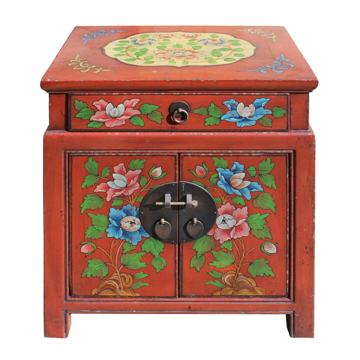 Chinese Oriental Distressed Red Orange End Table   Image 2 Of 7