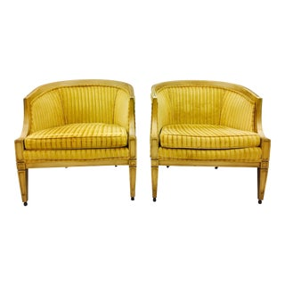 Regency Velvet Barrel Back Chairs - A Pair