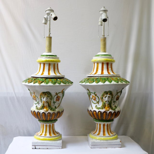 Italian Maiolica Table Lamps - A Pair - Image 2 of 9