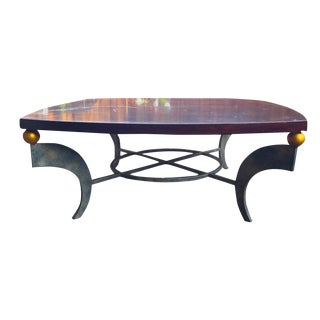 Mid-Century Solid Wood & Wrought Iron Coffee Table