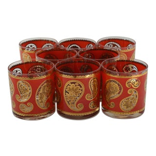 Scarlet and Gold Paisley Culver Lowball Glasses, Set of 8