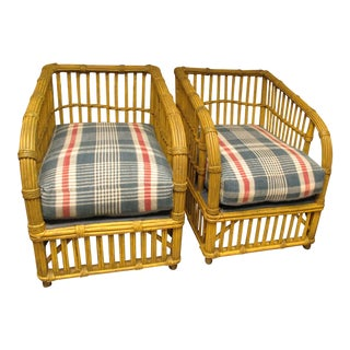 Pair of miniature reproduction wicker chairs with vintage linen pillows