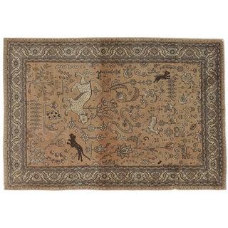 "Vintage Persian Pictorial Rug - 4'1"" x 5'11"""