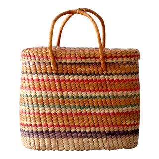 Vintage Woven Basket Tote