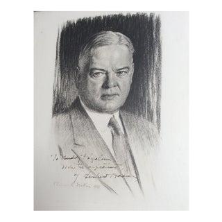 Framed Autographed Portrait of Herbert Hoover