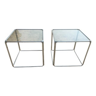 Set of 2 MCM Milo Baughman Stackable Chrome Cube End Tables Coffee Table
