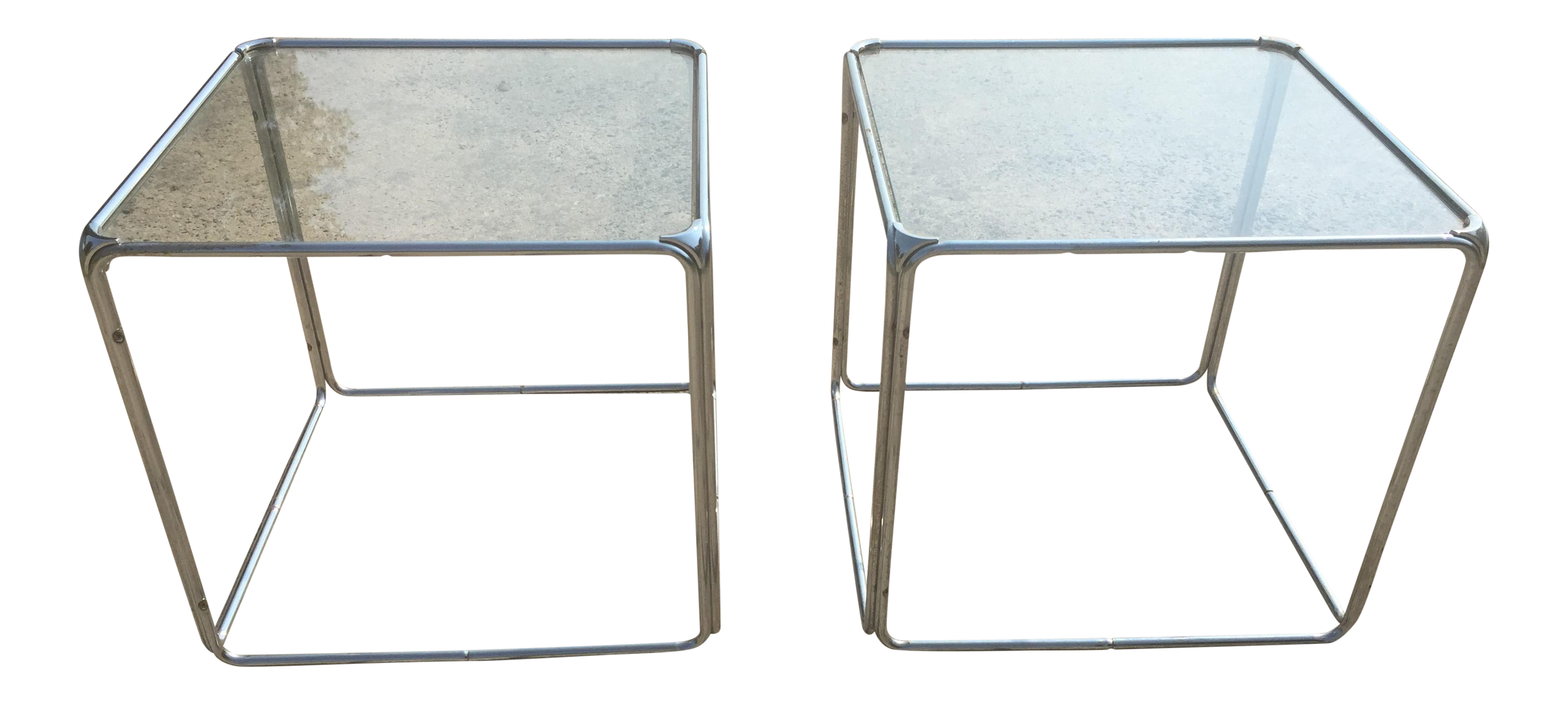 Set Of 2 MCM Milo Baughman Stackable Chrome Cube End Tables Coffee Table    Image 1