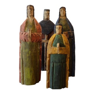 Hand Carved Wooden Missionary Figurines - Set of 4