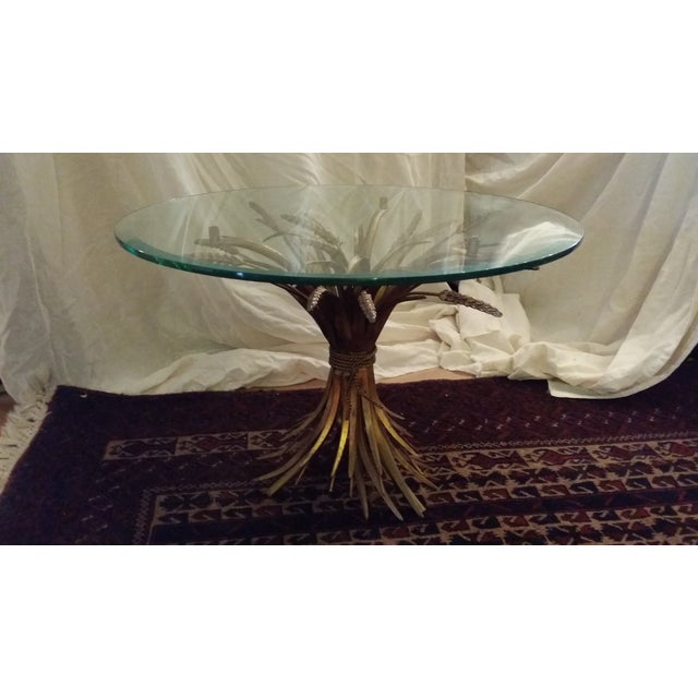 Hollywood Regency Gilt Sheaf of Wheat End Table - Image 3 of 4