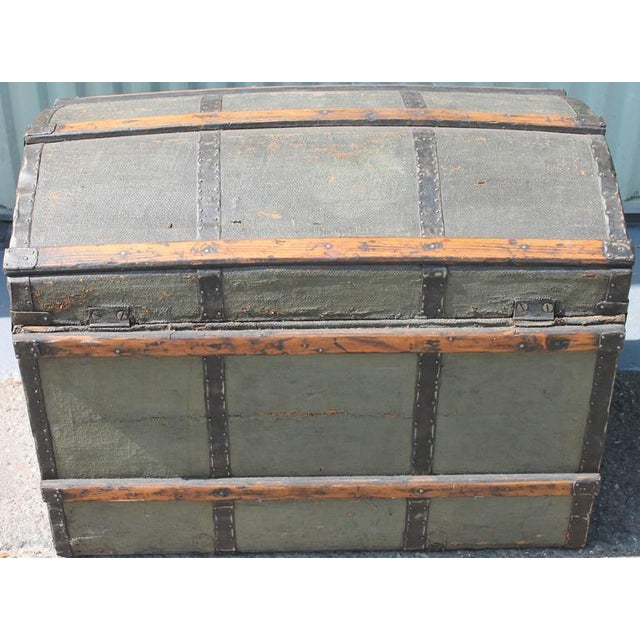 19th Century Original Green Painted Dome Top Trunk - Image 4 of 9