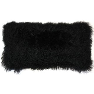 Black Mongolian Sheepskin Lumbar Pillow