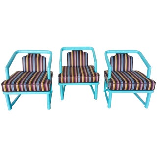 Paul Laszlo Upholstered Blue Sky Chairs- Set of 3