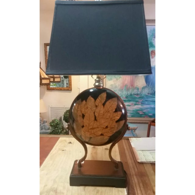 Image of Neiman Marcus Lamps W/Gold Leaves - A Pair