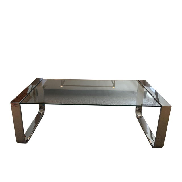 Modern Chrome And Glass Coffee Table From Wisteria Chairish
