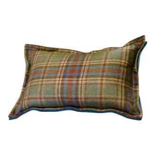 Green & Brown Wool Plaid Pillow