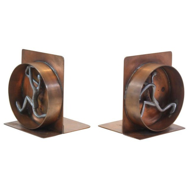 Mid-Century Modern Copper and Pewter Bookends Signed Nelson - Image 3 of 11