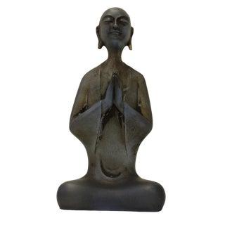Chinese Crystal Glass Gray Small Lohon Monk Figure