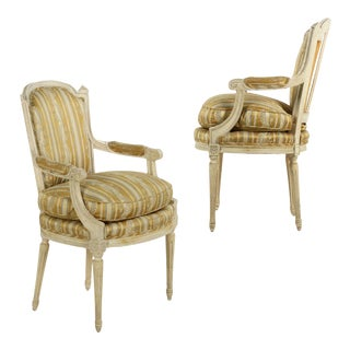 French Louis XVI Style Painted Fauteuils Arm Chairs, 20th Century- A Pair