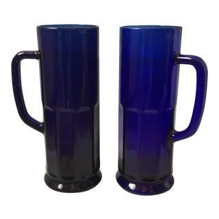 Cobalt Blue Glass Steins - A Pair